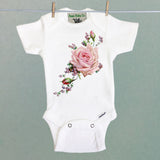 Pink Roses and Purple Heather One Piece Baby Bodysuit