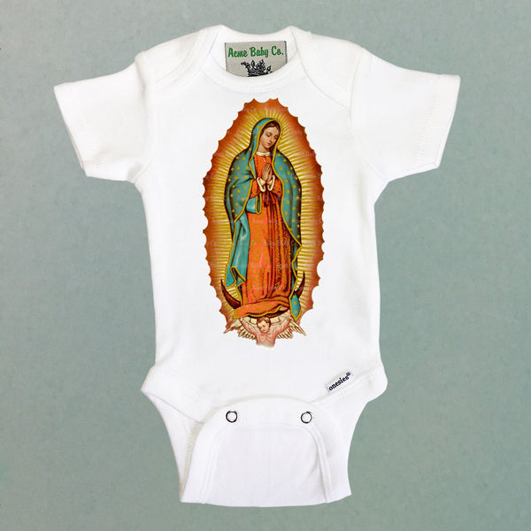 Virgin de Guadalupe One Piece Baby Bodysuit