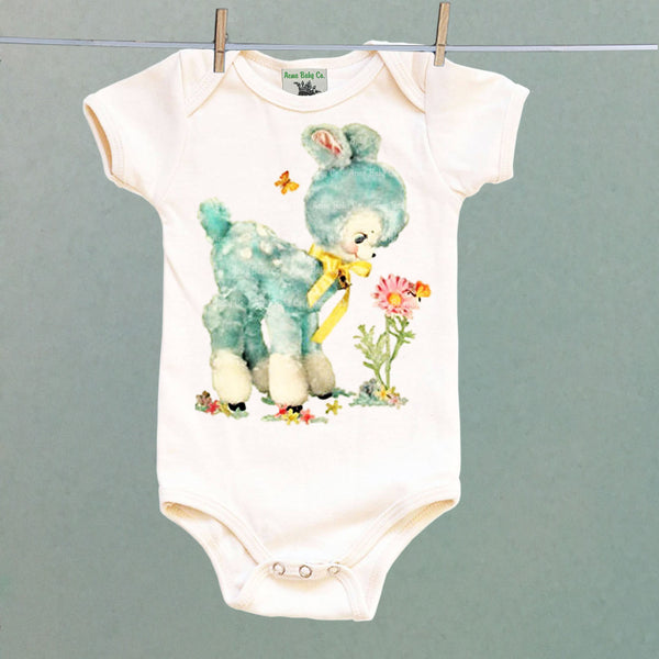 One Piece Baby Bodysuit with Blue Retro Stuffie Deer