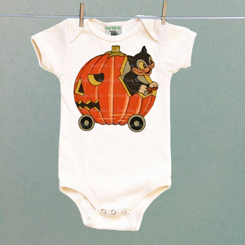Cat in Pumpkin Car One Piece Baby Bodysuit