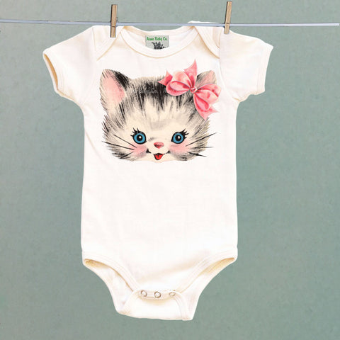 Kitty Cat with Pink Bow Onesie™ One Piece Baby Bodysuit