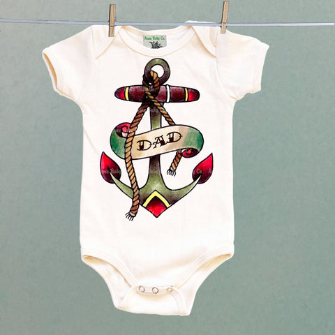 Dad Anchor Tattoo One Piece Baby Bodysuit