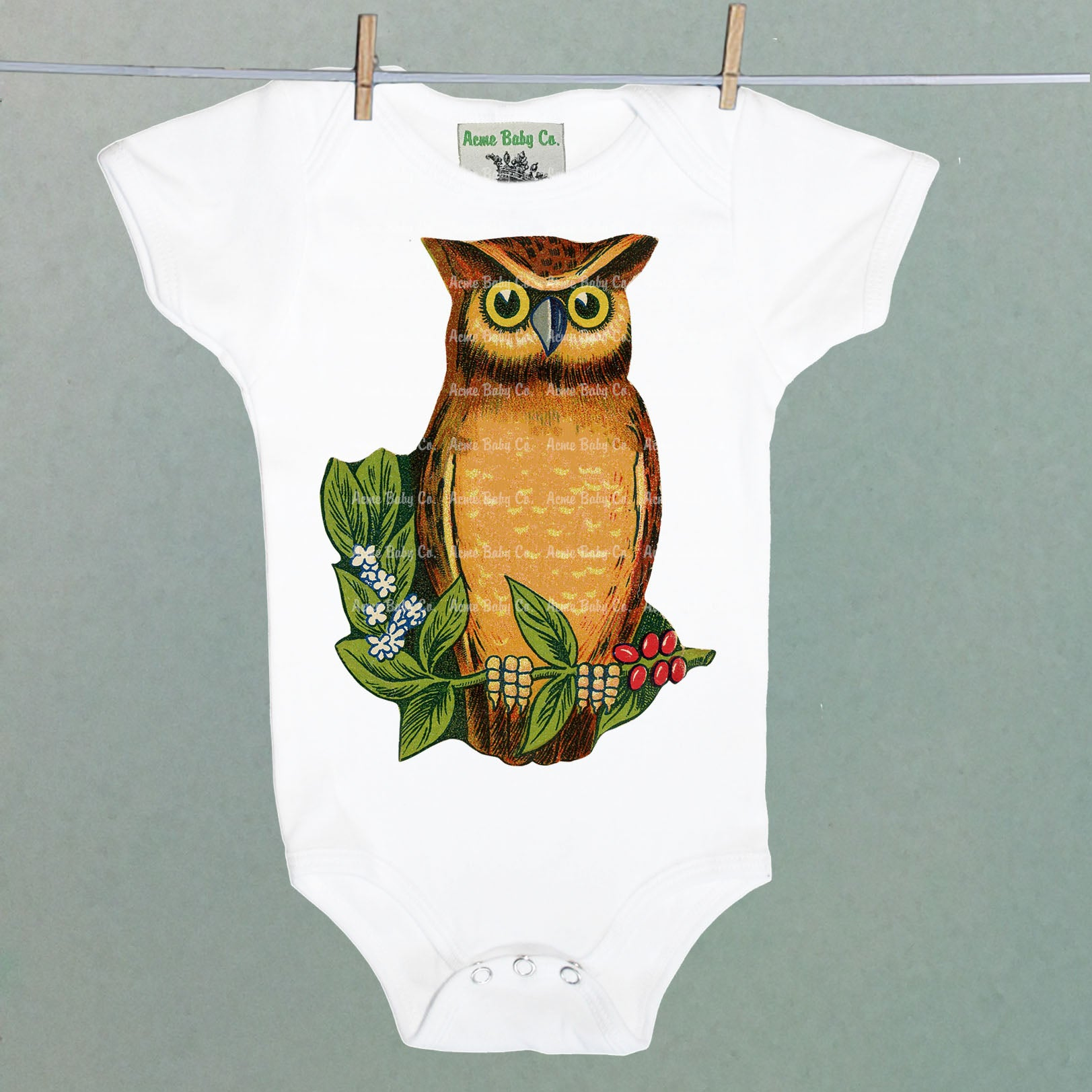Wise Owl on Branch One Piece Baby Bodysuit