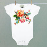 Roses and Forget Me Nots One Piece Baby Bodysuit