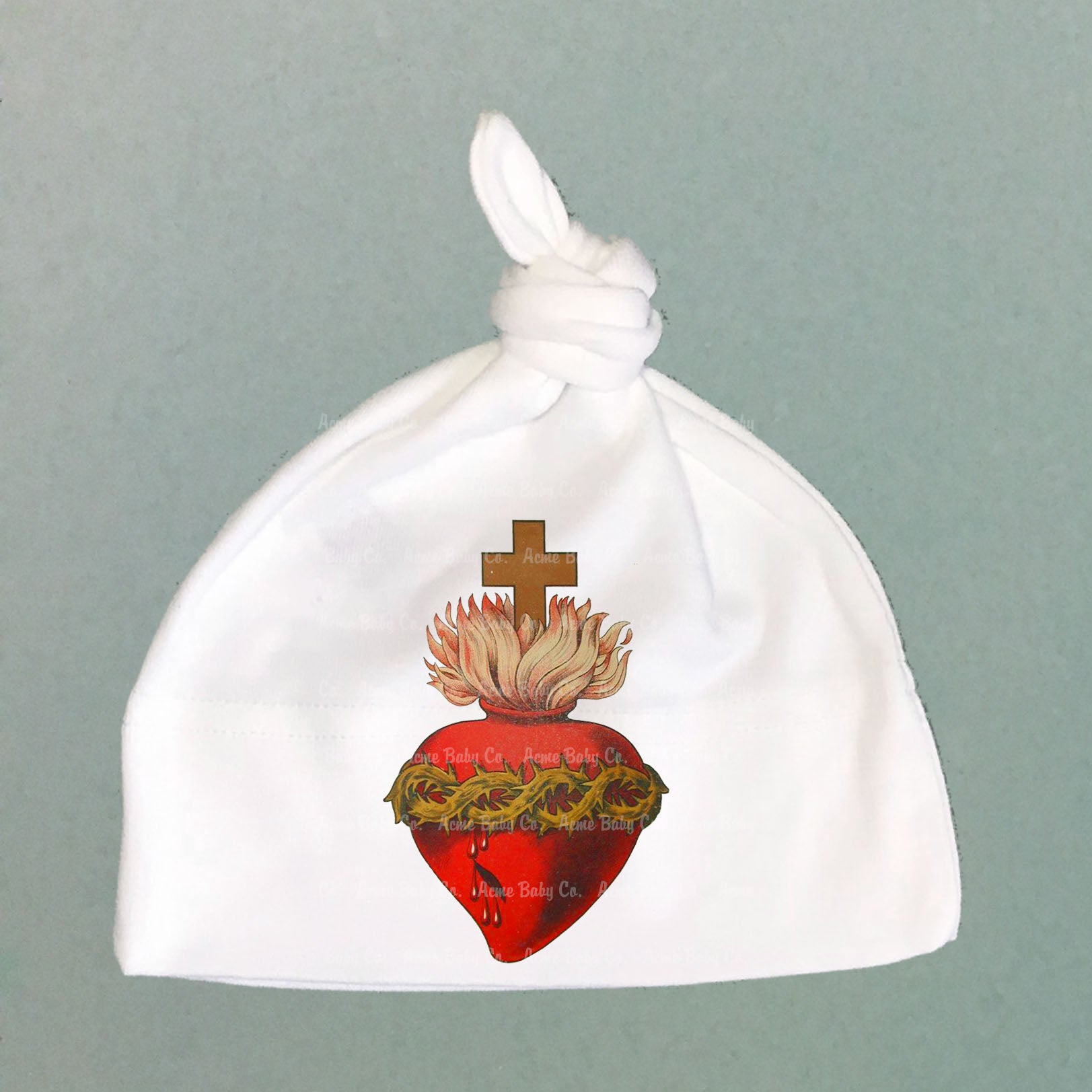 Sacred Heart Organic Cotton Baby Knit Cap