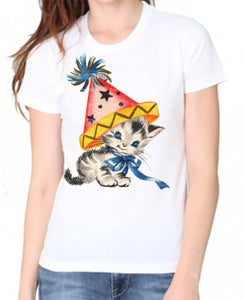 Cute Kitty Cat Party Women's Organic Shirt.