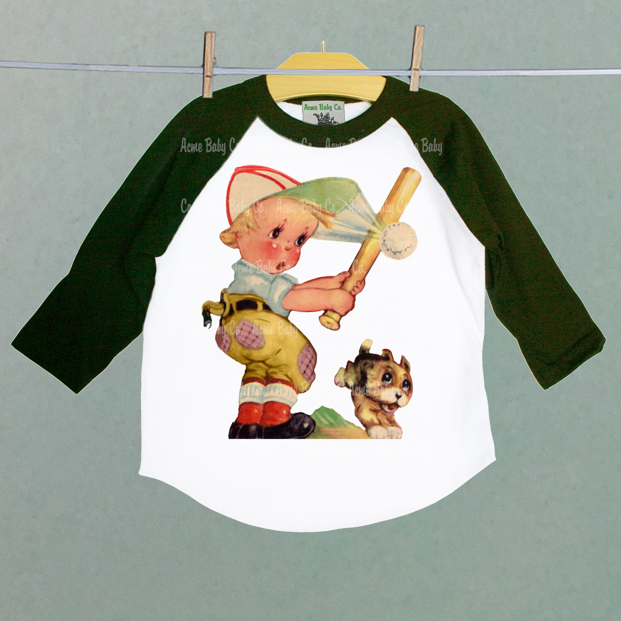 Boy's Retro Baseball Children's Raglan Shirt