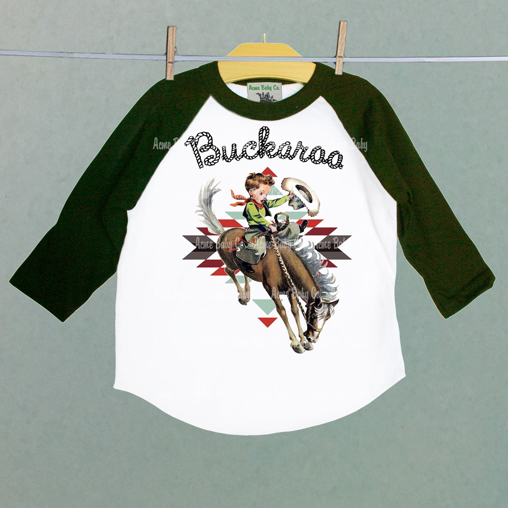 Southwest Buckaroo Children's Raglan Shirt