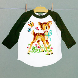 Deer with Butterflies Retro Baseball Children's Raglan Shirt