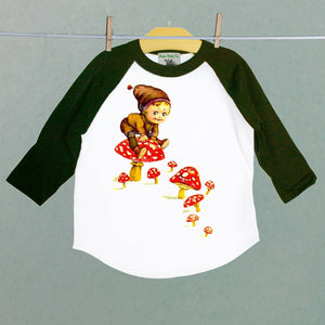 Brown Fairy and Red Mushroom Raglan Shirt