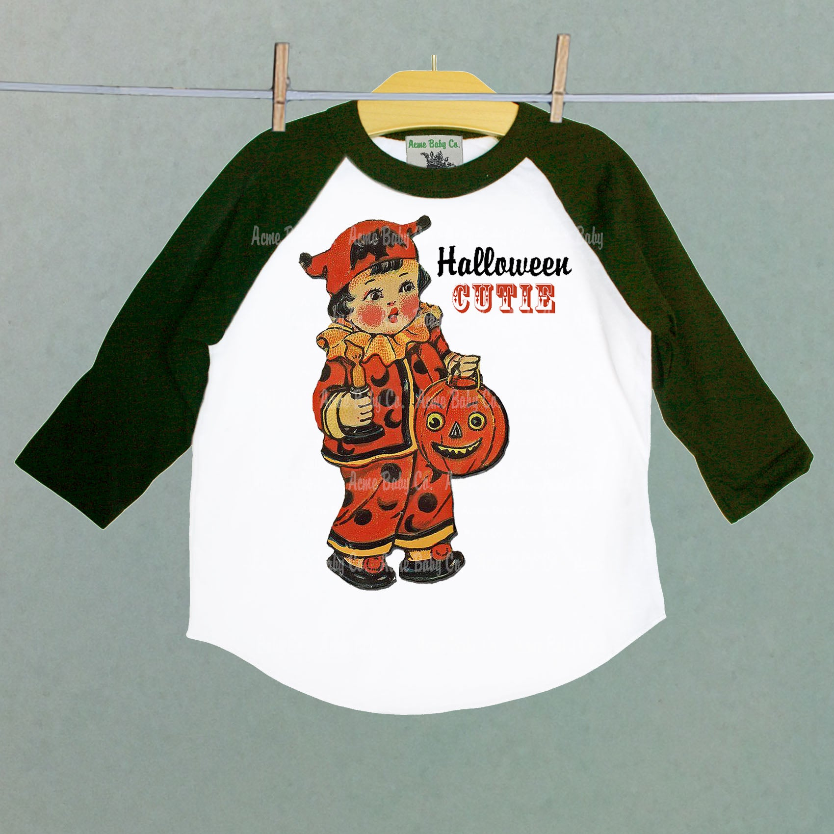 Halloween Trick-or-Treat Cutie Baseball Raglan Shirt