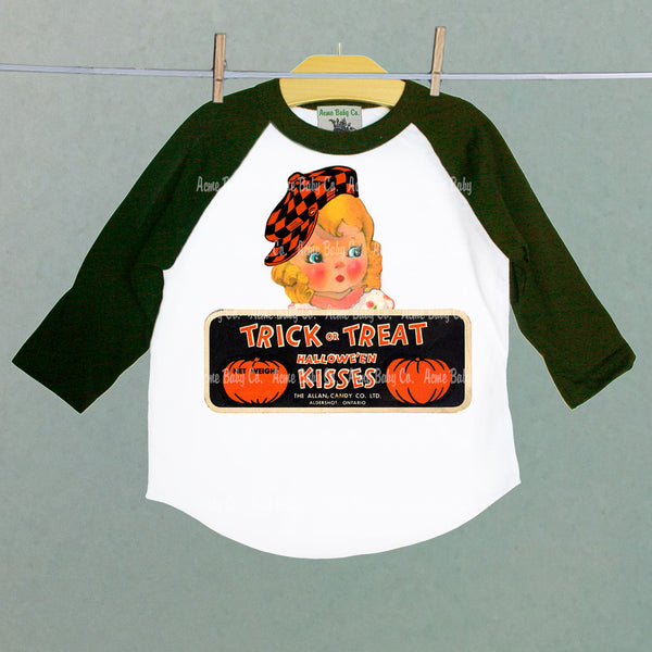 Halloween Trick-or-Treat Kisses Cutie Baseball Raglan Shirt