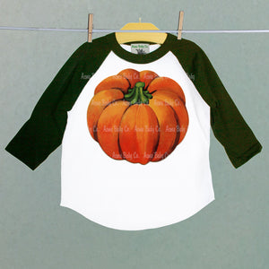 Big Orange Fall Pumpkin Baseball Raglan Shirt