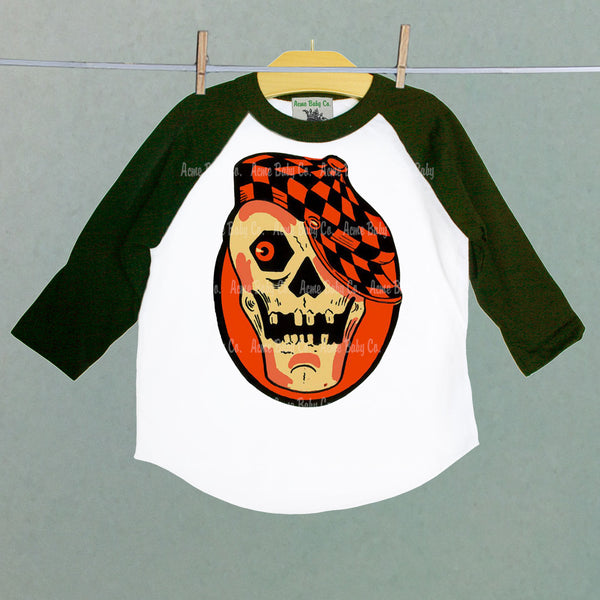 Halloween Rockabilly Skull Baseball Raglan Shirt