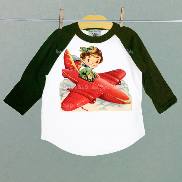 Children's Retro Baseball Raglan Shirt with Girl Pilot