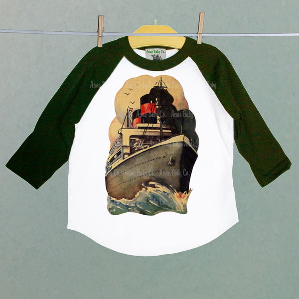 Vintage Steamer Ship Raglan Shirt