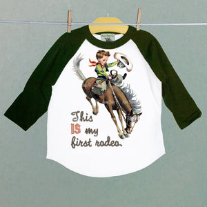 This IS My First Rodeo Children's Raglan Baseball Shirt