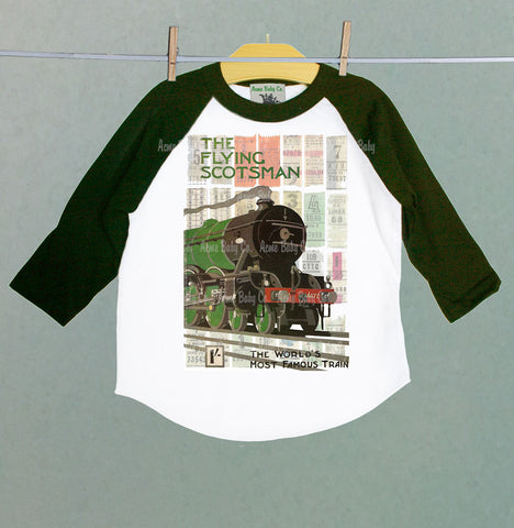 Flying Scotsman Steam Engine Train Children's Baseball Raglan Shirt