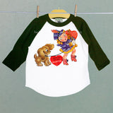Marching Girl and Pup Valentine Raglan Shirt