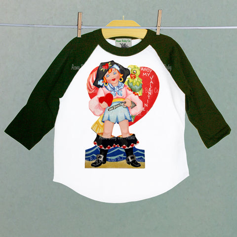 Pirate Girl Valentine Raglan Shirt