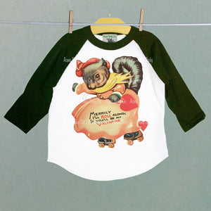 Squirrel on Rollerskates Retro Valentine Raglan Shirt