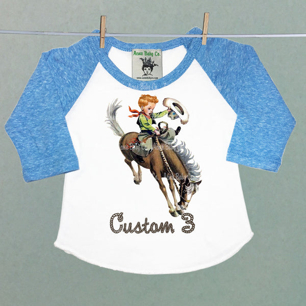 Custom Buckaroo Children's Raglan Shirt with Custom Hair Color