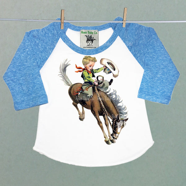 Blonde Buckaroo Children's Raglan Baseball Shirt with Custom Sleeve Color