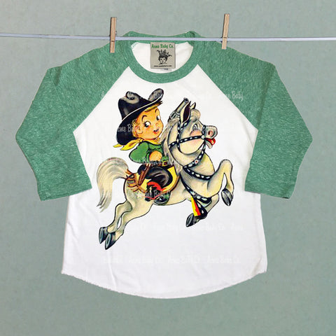 Cowboy Cutie Children's Raglan Shirt with Custom Sleeve Color