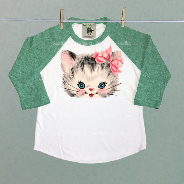 Kitty Cat with Bow Children's Raglan Shirt