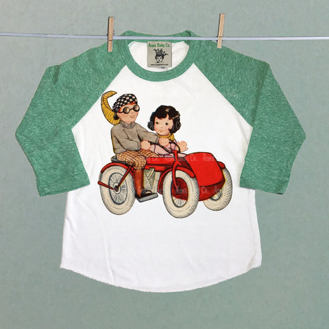 Red motorcycle Sidecar Cuties Raglan Shirt