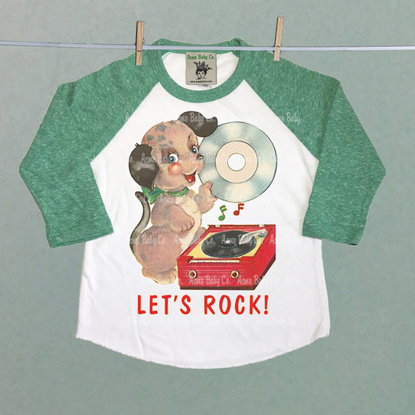 Let's Rock Retro Puppy Raglan Shirt