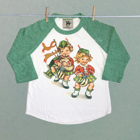 Raglan Baseball Shirt with Scottish Bagpipe Kids