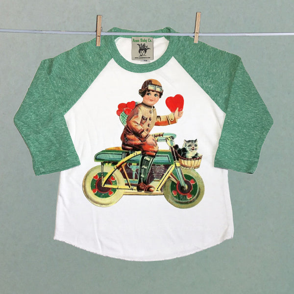 Motorcycle Boy Valentine Raglan Shirt