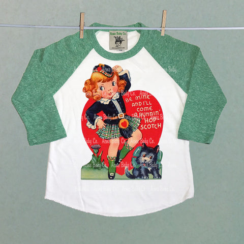 Raglan Baseball Shirt with Retro Scottish Girl Valentine