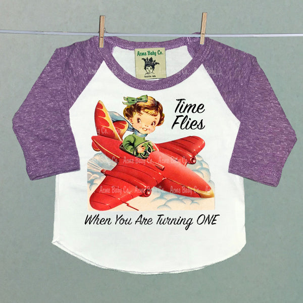 Time Flies Custom Retro Baseball Raglan Shirt with Girl Pilot