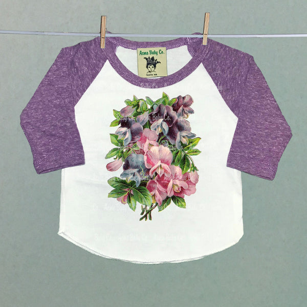 Sweet Pea Flowers Girl's Raglan Baseball Shirt