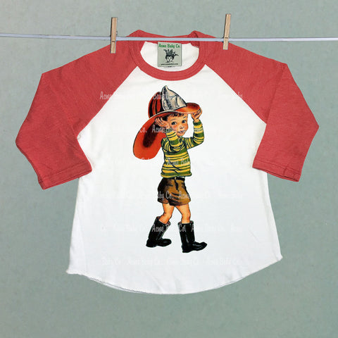Custom Fireman Children's Baseball Raglan Shirt