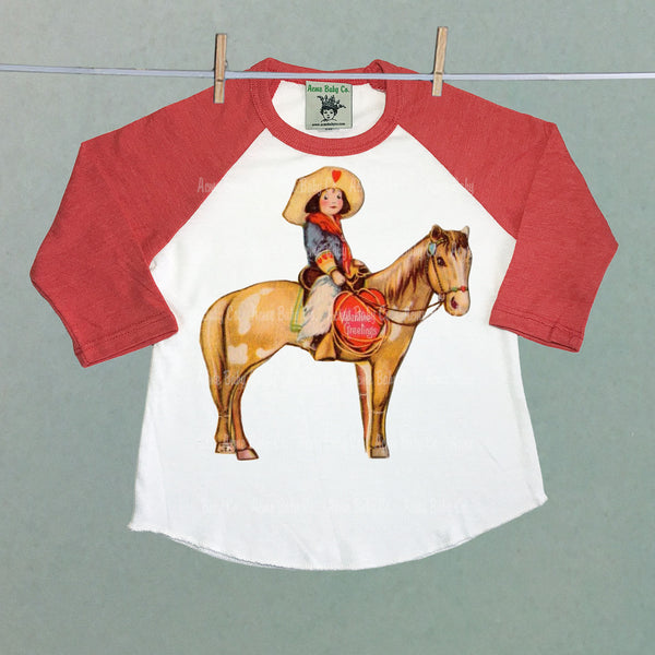 Valentine Greetings Cowgirl and Horse Raglan Shirt