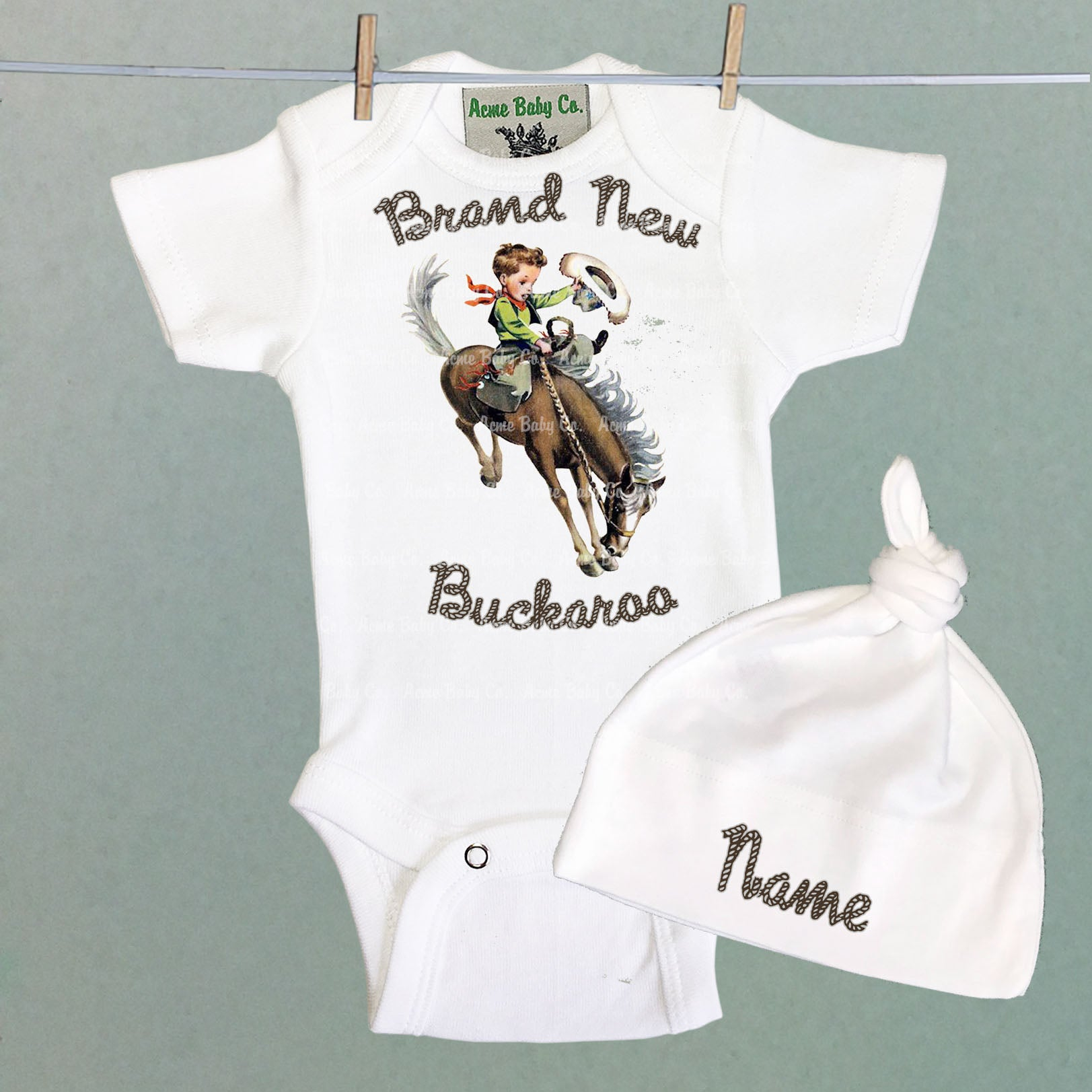 Personalized Brand New Buckaroo Coming Home Baby Bodysuit and Cap Set