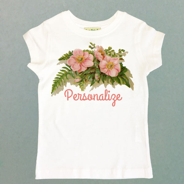 Personalized Rose and Fern Girl's Shirt