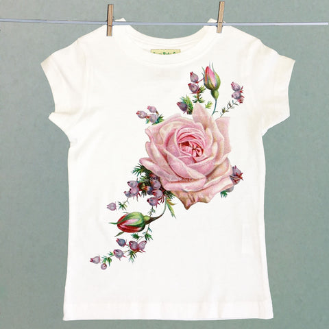 Retro Pink Roses and Heather Girl's Shirt
