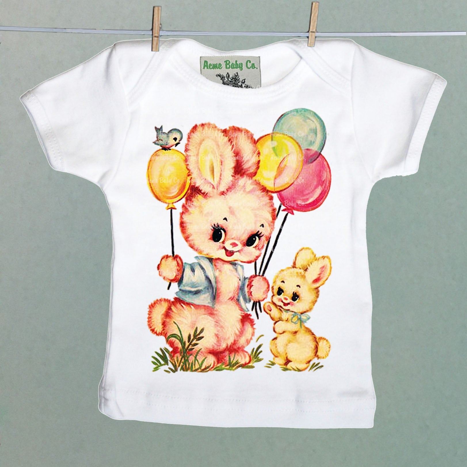 Retro Party Bunnies Organic Baby Shirt