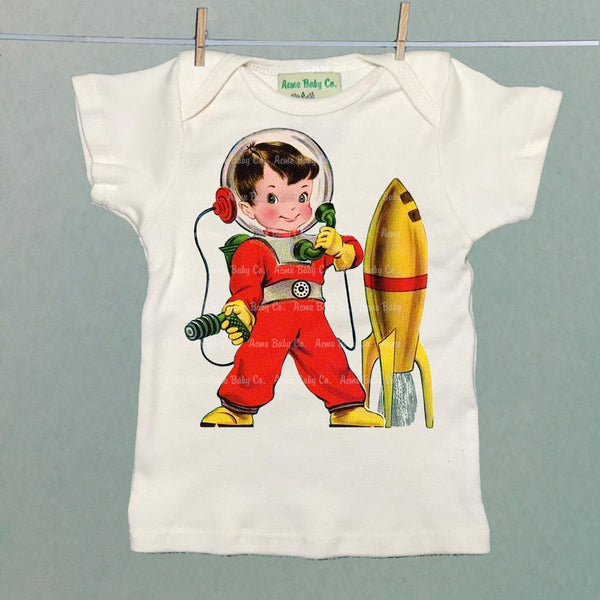 Astronaut with Rocket Organic Baby Shirt