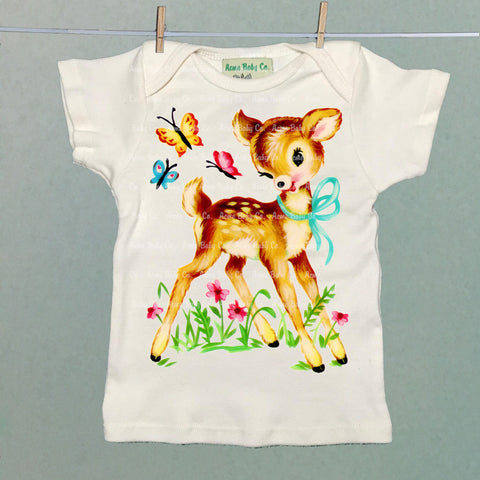 Deer with Butterflies Organic Infant Shirt