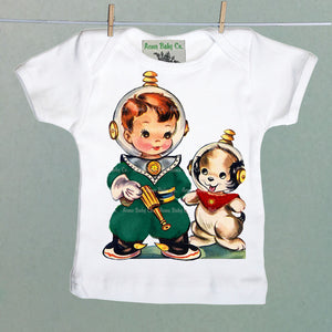 Space Boy and Puppy Dog Organic Baby Shirt
