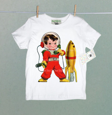 Retro Astronaut Boy with Rocket Organic Children's Shirt