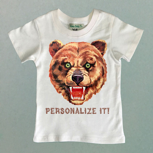 Personalized Brown Bear Custom Children's Organic Shirt