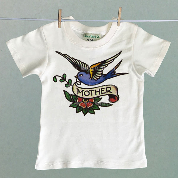 Vintage Kid's Organic Shirt with Mother Tattoo
