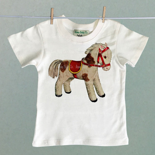 Vintage Kid's Organic Shirt with Toy Horse