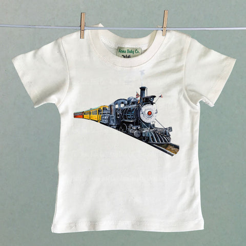Vintage Kid's Steam Train Organic Shirt